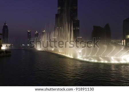 Dubai fountains - stock photo