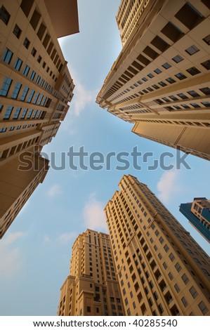 Dubai Highrise Apartments - stock photo