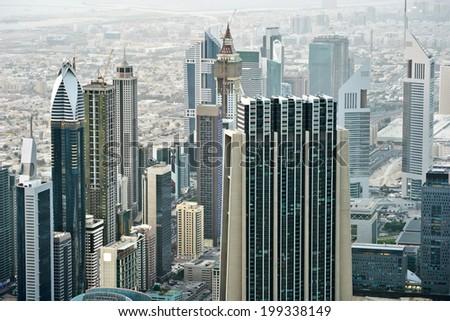 Dubai International Financial Centre. View from Dubai's tower - stock photo