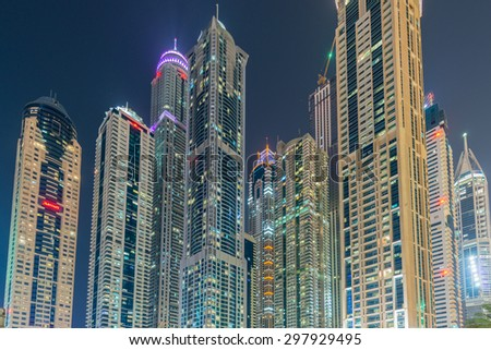 Dubai - JANUARY 10, 2015: Marina district on January 10 in UAE, Dubai. Marina district is popular residential area in Dubai - stock photo