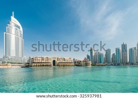 Dubai - JANUARY 10, 2015: The Address Hotel on January 10 in UAE, Dubai. Address Hotel is popular 5-star hotel. - stock photo