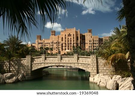 Dubai, Madinat Jumeirah park - stock photo
