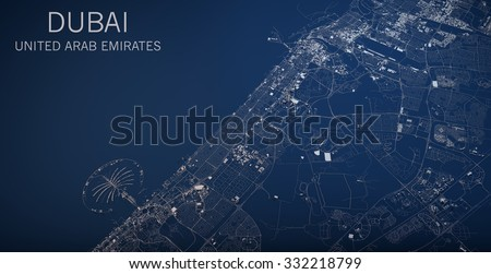 Dubai map, satellite view, section 3d, United Arab Emirates - stock photo