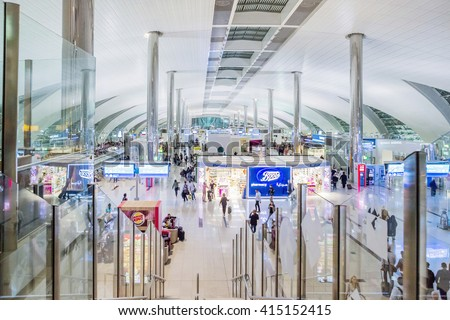 DUBAI - MARCH 14, 2016:  Dubai International Airport, UAE.  It's world largest building by floor space and world largest airport terminal. - stock photo