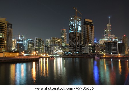 Dubai Marina at night. Dubai, United Arab Emirates