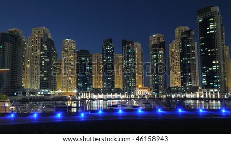 Dubai Marina at night. Dubai, United Arab Emirates - stock photo