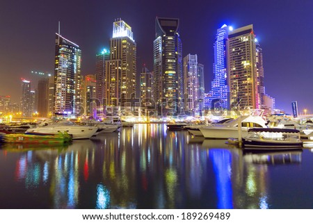 Dubai Marina at night, United Arab Emirates - stock photo