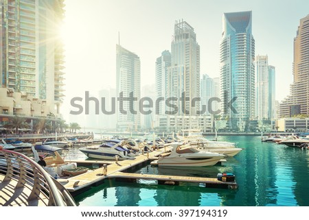 Dubai Marina at sunset, United Arab Emirates - stock photo