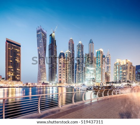 Dubai Marina boardwalk during blue hour