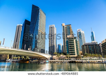 Dubai Marina in a summer day, United Arab Emirates