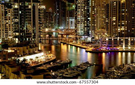 Dubai Marina in the night - stock photo