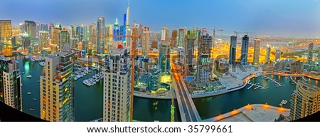 Dubai Marina Night Scene Panorama - stock photo