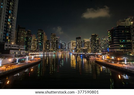 Dubai Marina night view from the bridge, Dubai Marina Night view of skyscrapers.