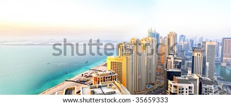 Dubai Marina Panorama Day - stock photo