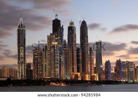 Dubai Marina skyline at dusk, Dubai, United Arab Emirates - stock photo