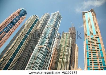 Dubai Marina skyscrapers - stock photo