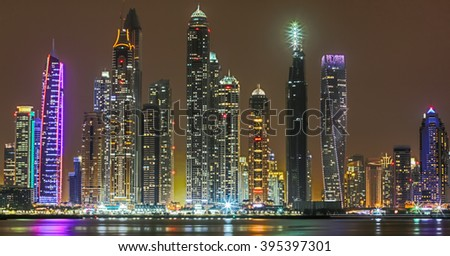Dubai Marina skyscrapers night view-UAE - stock photo
