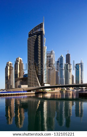 DUBAI MARINA, UAE - OCT 2: A view of Jumeirah Beach Residence Towers on Oct 2, 2012 in Dubai, UAE. Dubai Marina is an artificial 3 km canal carved along the Persian Gulf shoreline