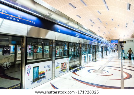 DUBAI - NOVEMBER 13: Dubai Metro Terminal on December 25, 2012 in Dubai, United Arab Emirates. The Metro is one of most effective way to explore and discover Dubai City.