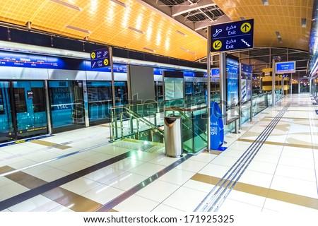 DUBAI - NOVEMBER 13: Dubai Metro Terminal on November 13, 2011 in Dubai, United Arab Emirates. The Metro is one of most effective way to explore and discover Dubai City. - stock photo