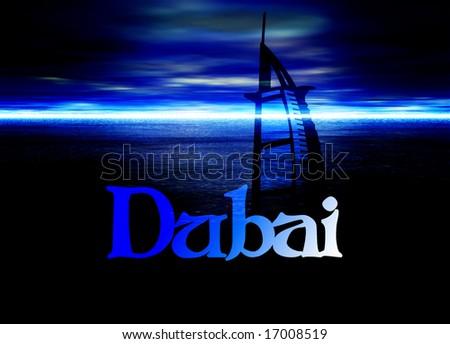 Dubai Poster Horizon Blue with Burj Al Arab Hotel Illustration - stock photo