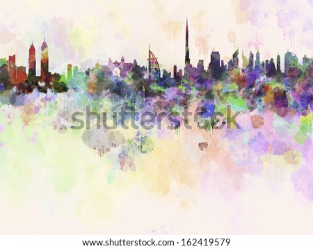Dubai skyline in watercolor background with clipping path - stock photo