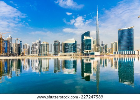Dubai skyline, UAE. - stock photo