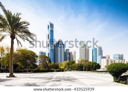 Dubai skyline with palm