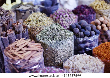 Dubai Spice Souk  or the Old Souk is a traditional market  in Dubai, United Arab Emirates (UAE), selling a variety of fragrances and spices. - stock photo