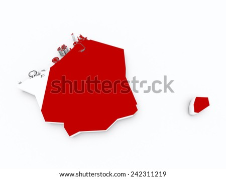 Dubai state flag on 3d map - stock photo