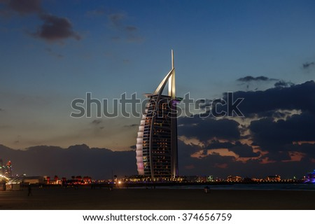 DUBAI, UAE - APRIL 20: Burj Al Arab, built on an artificial island on Jumeirah beach and classed as one of the most luxurious in the world, on April 20, 2016 - stock photo