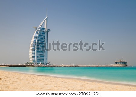 DUBAI, UAE - APRIL 1, 2015 : Burj Al Arab, One of the most famous landmark of United Arab Emirates. Picture taken during sunny day on April 1, 2015. - stock photo