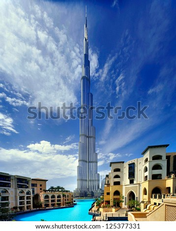 DUBAI, UAE - APRIL 17 - Burj Khalifa, the tallest skyscraper in the world, stands at 829.8 m. Construction began on September 2004, officially opened January 4, 2010. Picture taken on April 17, 2010. - stock photo