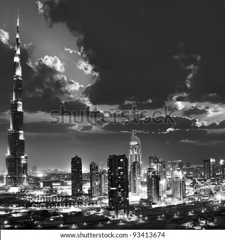 DUBAI, UAE - APRIL 04: Burj Khalifa, world's tallest tower ever built, located at Downtown, Burj Dubai at night April 04, 2011 in Dubai, United Arab Emirates - stock photo