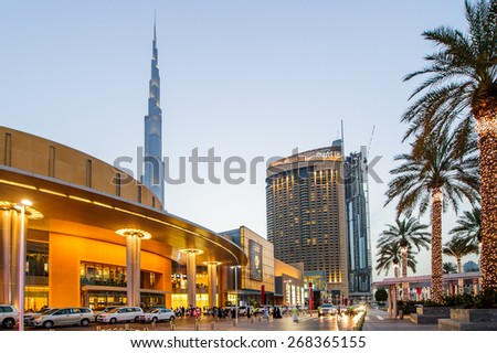 DUBAI, UAE - APRIL 07, 2015:Dubai Mall, the world's largest shopping mall, part of the 20 billion dollars Downtown Dubai Complex, and includes around 1,200 shops - stock photo