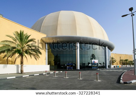 DUBAI, UAE - APRIL 08, 2015 Dubai outlet mall Mall, the world's largest outlet mall, in Al Ain road,is the and home to over 1200 of the world premium and top brands.  - stock photo