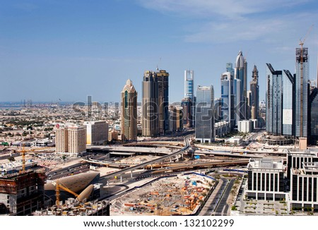 DUBAI, UAE - APRIL 17: Dubai Sheikh Zayed Road on Apr 17, 2010 in Dubai, UAE. E11 highway is the longest road in the UAE. It crosses Dubai where it is called the Sheikh Zayed Road.