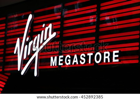 DUBAI, UAE - APRIL 04: Virgin Megastore retail outlet in Dubai on April 04, 2016.