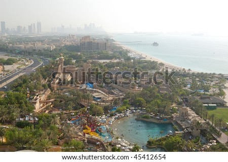 DUBAI, UAE - AUGUST 27: The Wild Wadi Water Park on August 27, 2009 in Dubai, UAE. It is located very close to seven stars Burj al Arab hotel and Jumeirah Beach hotel. - stock photo