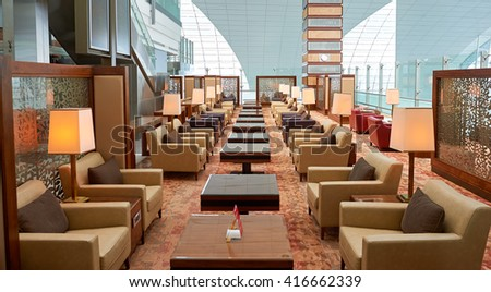 DUBAI, UAE - CIRCA JUNE, 2015: inside of Dubai International Airport. Dubai International Airport is the primary airport serving Dubai, United Arab Emirates - stock photo