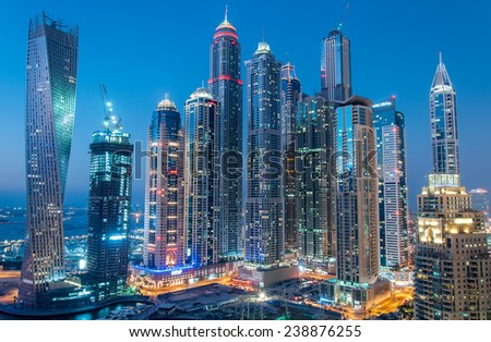 DUBAI, UAE - Dec 15 : A skyline  view of Dubai Marina showing the Marina and JBR on Dec 15, 2014 in Dubai, UAE. Dubai Marina is an artificial 3 km canal carved along the Persian Gulf shoreline - stock photo