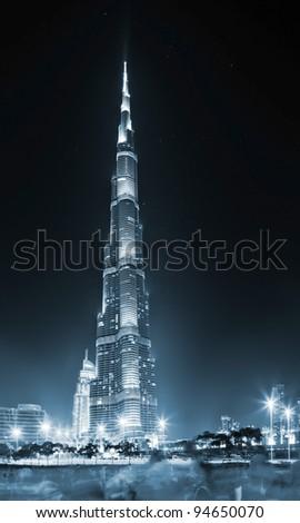 DUBAI, UAE - DEC 31:  Burj Khalifa  on New Year's Eve December 31, 2012 in Dubai, UAE. Burj Khalifa is the highest building in the world (828m). Located in Downtown Dubai, Sheikh Zayed Road. - stock photo