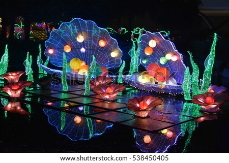 DUBAI, UAE - DEC 8: Dubai Garden Glow in Dubai, UAE, as seen on Dec 8, 2016. It is spread across 40 acres, with 32 installations made by 150 artists in 200,000 man hours.