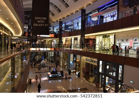 DUBAI, UAE - DEC 10: Dubai Mall in Dubai, UAE, as seen on Dec 10, 2016,. At over 12 million sq ft, it is the world's largest shopping mall based on total area and 6th largest by gross leasable area.