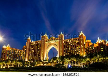 DUBAI, UAE - DECEMBER 03: Atlantis hotel on December 03, 2013 in Dubai, UAE. Atlantis the Palm is a luxury 5 star hotel built on an artificial island  - stock photo