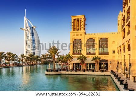 DUBAI, UAE - DECEMBER 31: View of Burj Al Arab hotel from Madinat Jumeirah hotel on December 31, 2014 in Dubai, United Arab Emirates, Middle East - stock photo