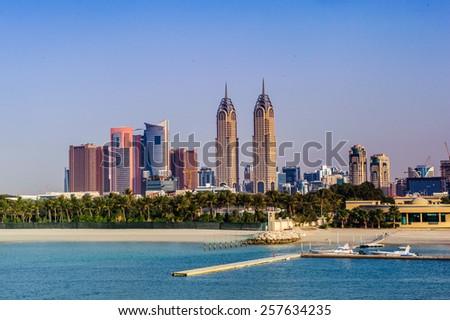 DUBAI, UAE - FABRYARY 20 - Dubai Media City (DMC) part of Dubai Holding is a tax free zone within Dubai, has been built by the Dubai government to boost UAE's media foothold. Fabryary 20, 2015 - stock photo
