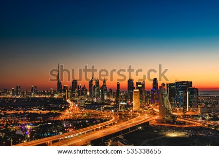 DUBAI, UAE - FEB 18: A beautiful view of Dubai at sunset showing Burj Khalifa, Emirates Towers, Index Building, DIFC, World Trade Centre, H Hotel and Etisalat Tower on Feb 18, 2016 in Dubai, UAE