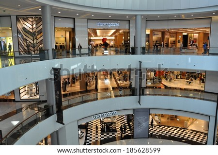 DUBAI, UAE - FEB 16: Bloomingdales at Dubai Mall in Dubai, UAE, on Feb 16, 2014,. The mall is the world's largest shopping mall based on total area and 6th largest by gross leasable area. - stock photo