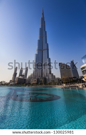 DUBAI, UAE - FEB 24: Burj Khalifa,the tallest manmade structure in the world, at 829.8 m, Downtown Burj Dubai February 24, 2013 in Dubai, United Arab Emirates - stock photo